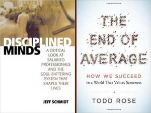 book covers: disciplined minds, and end of average